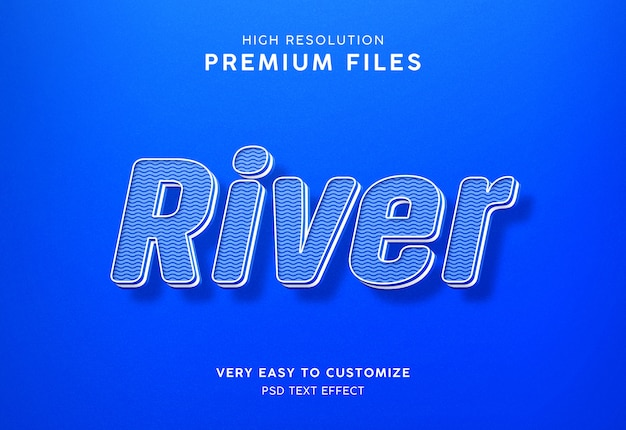 River 3d blue water text effect mockup