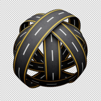 Road circle rendering design isolated