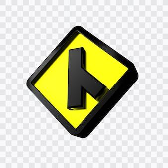 3つの斜め右を横断するための警告標識の道路標識