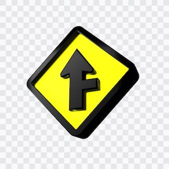 3つの右側交差点警告標識の道路標識