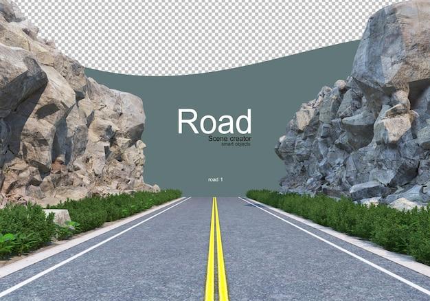 A road that cuts through a large boulder line