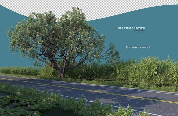 Road through a swamp Premium Psd