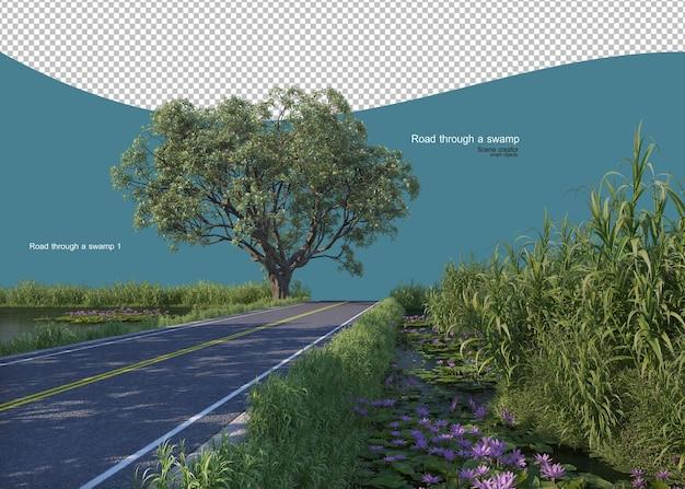Road through a swamp