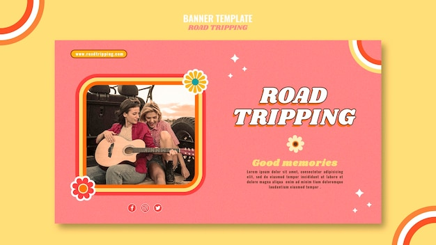 Road tripping banner template