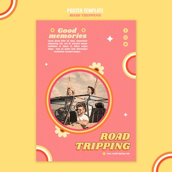 Road tripping poster template