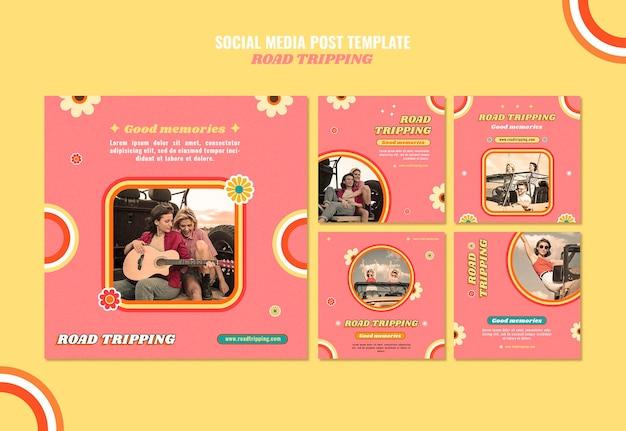 도로 트립 소셜 미디어 게시물
