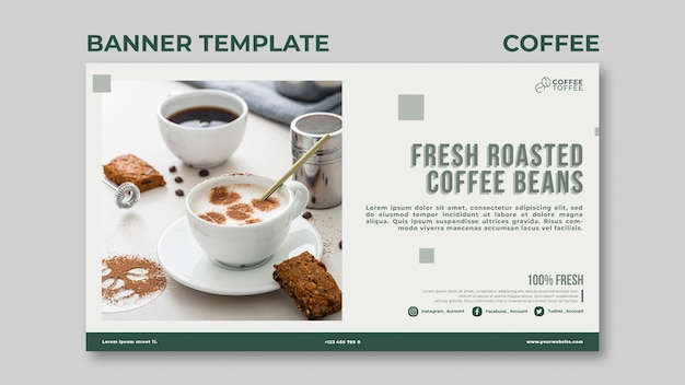 Roasted coffee beans banner template