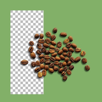 Roasted coffee beans isolated on transparent.