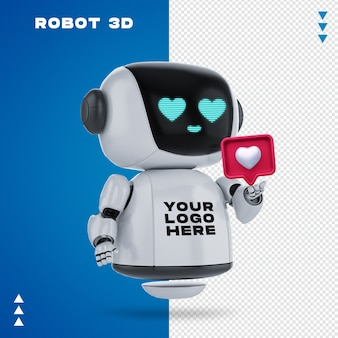 Robot 3d mockup in 3d rendering isolated