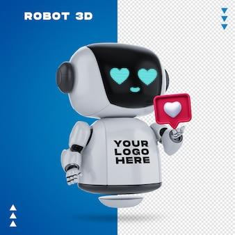 分離された3dレンダリングのロボット3dモックアップ
