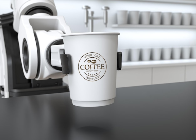 A robot arm holding a paper coffee cup mockup