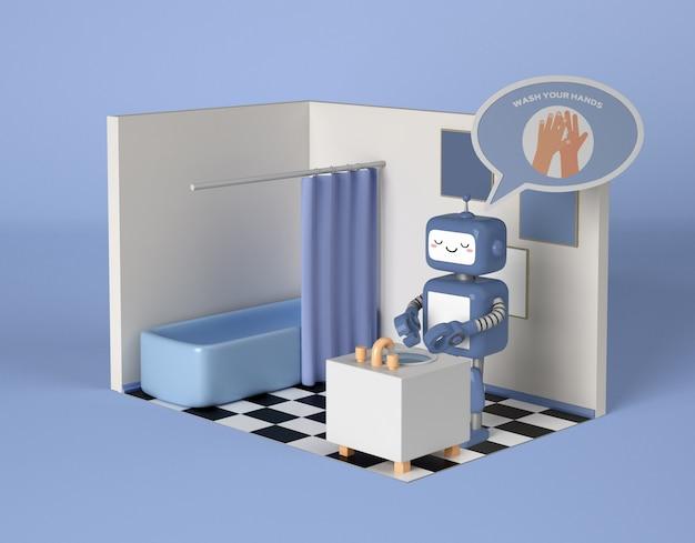 화장실에서 손을 청소하는 로봇