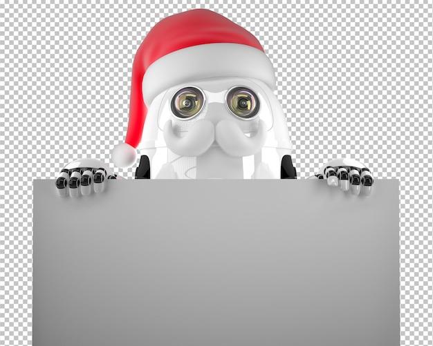 空白の看板看板を保持しているロボットサンタクロース。白で隔離