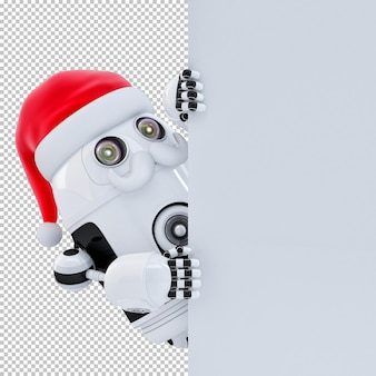 Robot santa claus pointing at white signboard banner. isolated over white