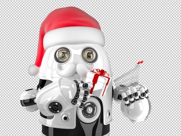 Робот санта-клаус с корзиной и подарочной коробкой. рождественское понятие