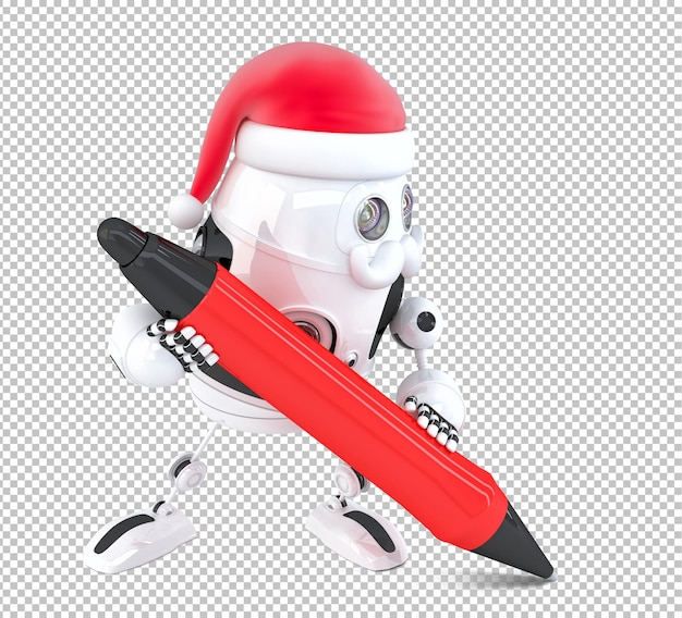 Robot santa claus write something with a pen. isolated on white