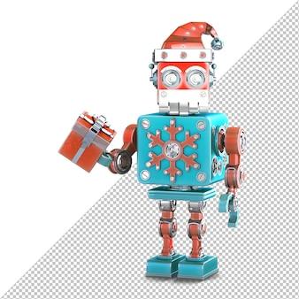 Робот санта с подарочной коробкой. изолированные