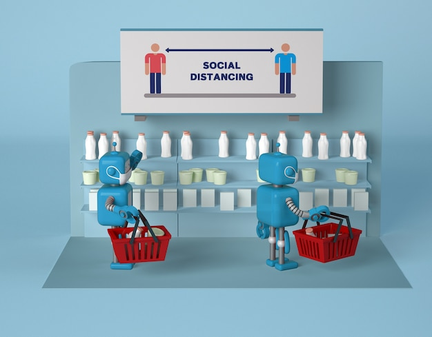 Robots with masks keeping social distance while at store