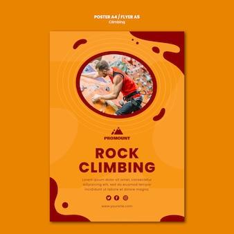 Modello di volantino per arrampicata su roccia