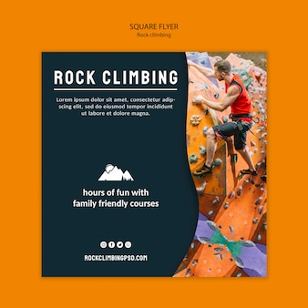 Rock climbing square flyer template