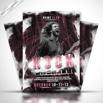 Rock festival poster or flyer template