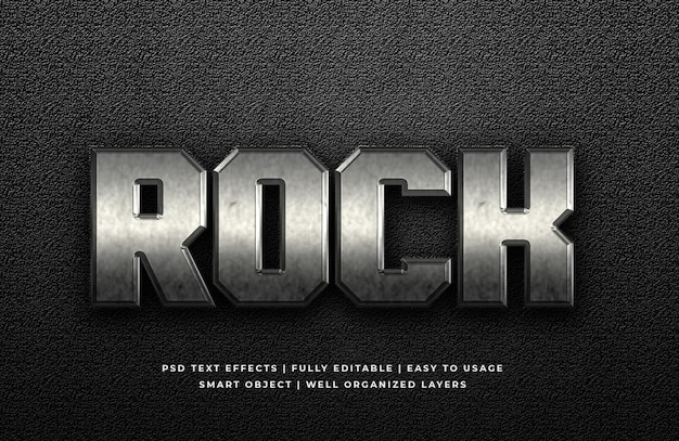Rock metal 3d text style effect