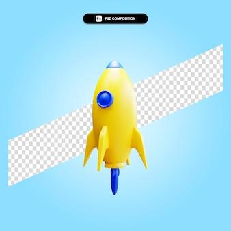 로켓 3d 렌더링 그림 절연