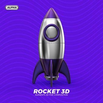 로켓 3d 렌더링 절연