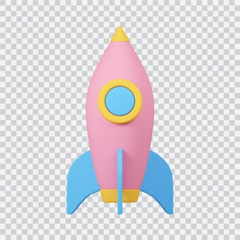 Rocket icon isolated on white 3d rendered image