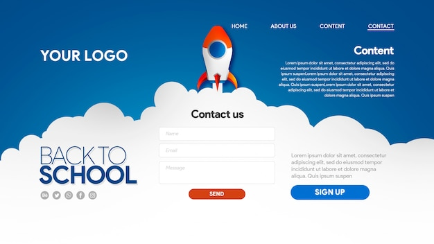Rocket landing page back to school