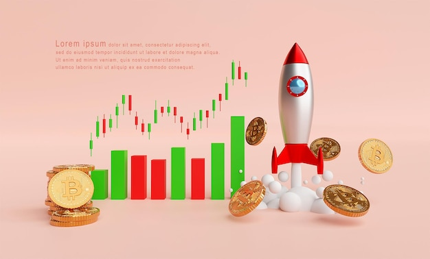 Rocket launching and btc bitcoin with candle graph chart template