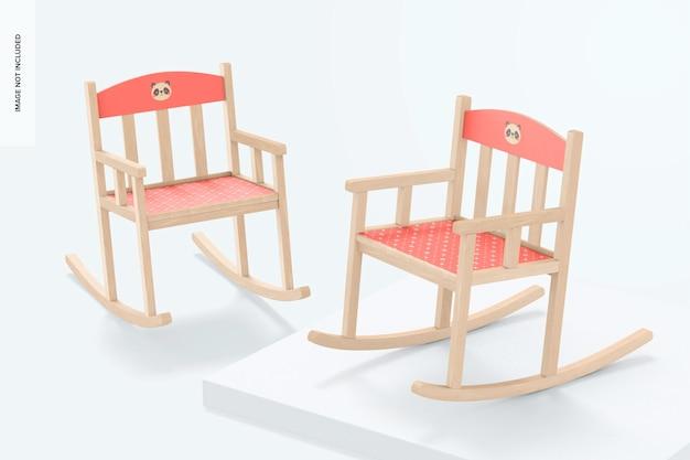 Детские кресла-качалки, мокап, перспектива