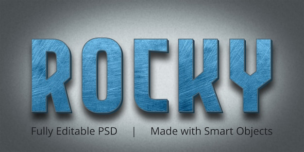 Rocky editable text style effect mockup