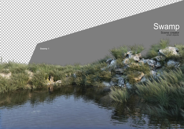 Rocky hill on the lake rendering