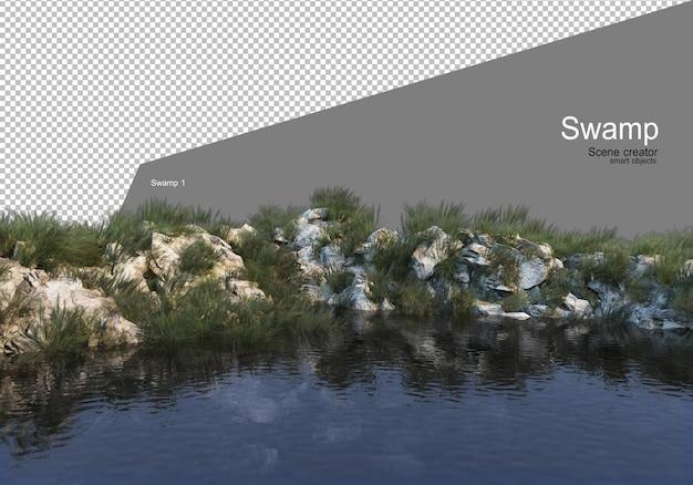 호수 렌더링에 바위 언덕