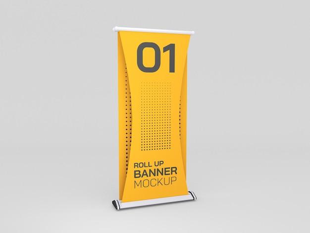 Roll up advertising banner mockup