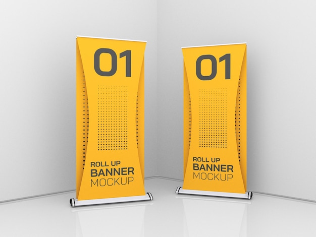 Roll up advertising banners mockup