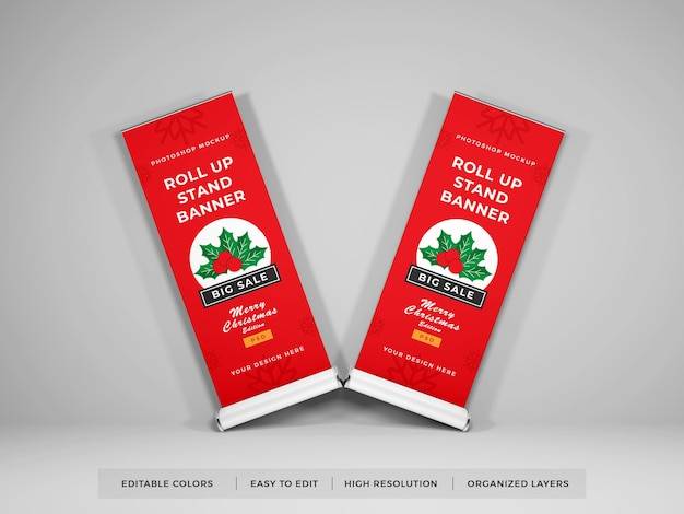 Roll up banner mockup design isolated