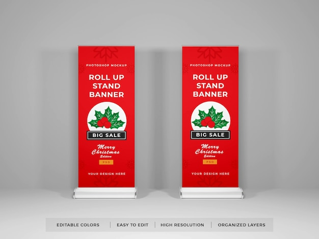 Roll up banner mockup isolated