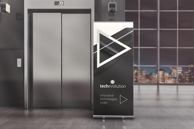 Рекламный стенд roll up в макете офисного зала