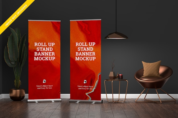 Roll up banner stand mockup in living room.