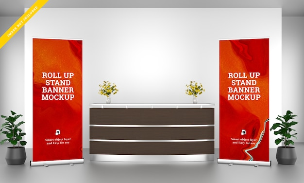 Roll up banner stand mockup in the reception