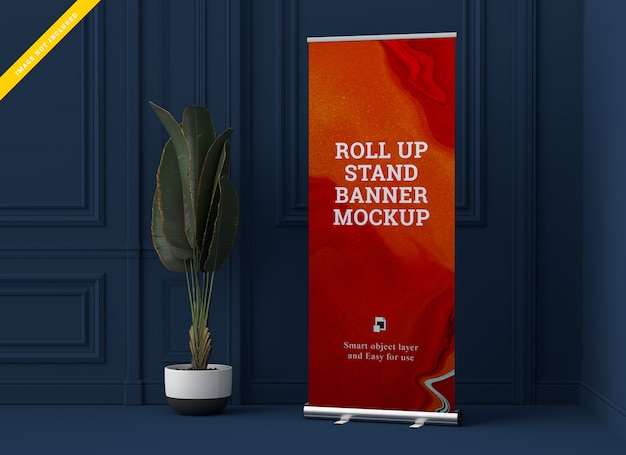 Roll up banner stand mockup. template psd.