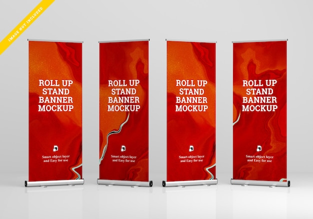 Roll up banner stand mockup. template .