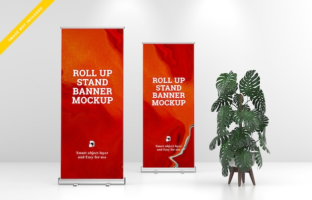 Roll up banner stand mockup. template
