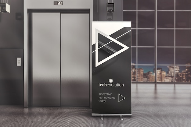 Roll up banner stand in office hall mockup