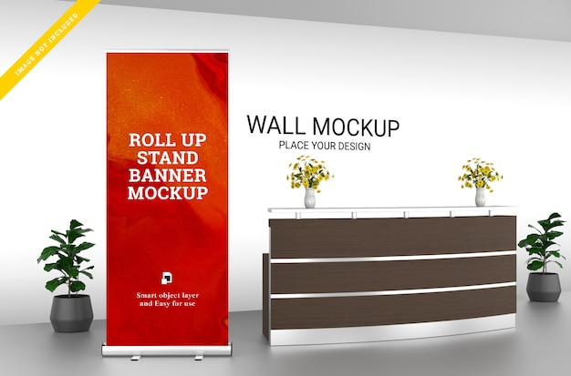 Roll up banner stand and wall mockup in the reception