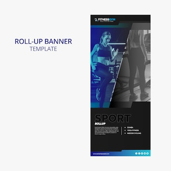 Roll up banner template with fitness concept