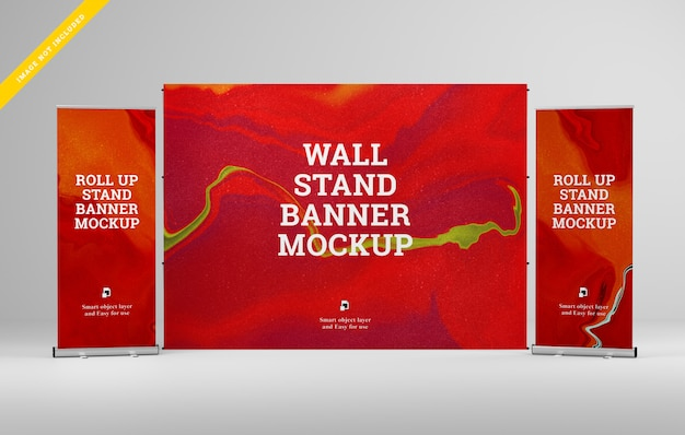 Roll up banner and wall stand banner mockup.