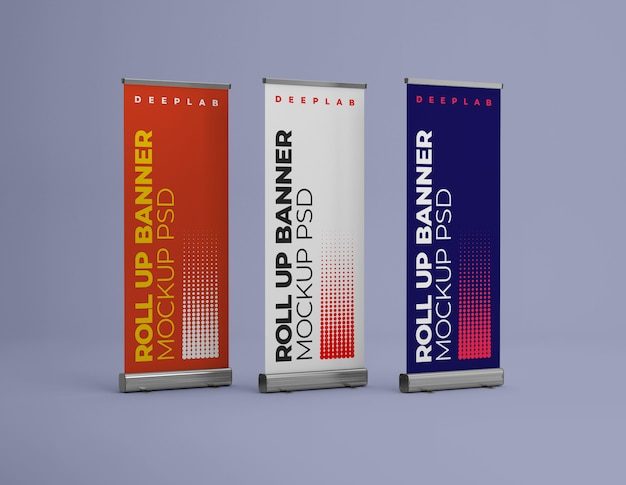 Roll up banner with   color mockup